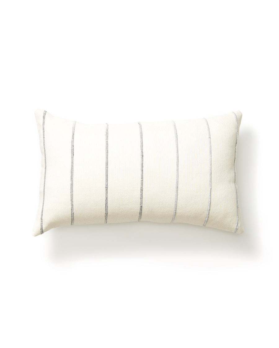 Recycled Stripe Lumbar Pillow Grey