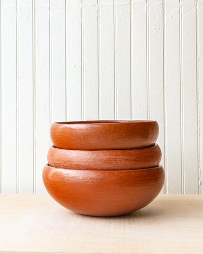 Red Clay Large Salad Bowls