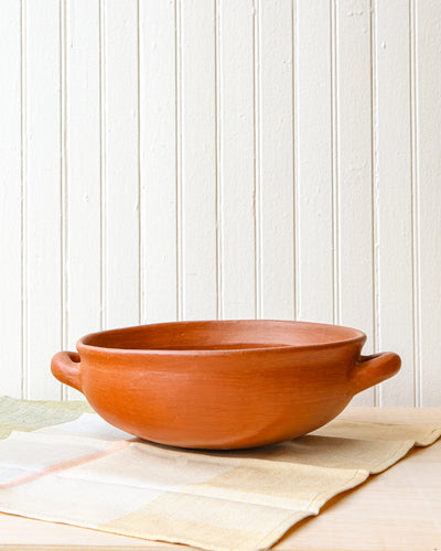 Large Red Clay Serving Bowl with Open Handles