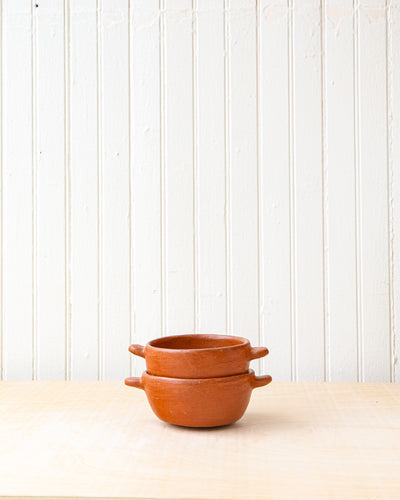 Red Clay Serving Bowls with Closed Handles