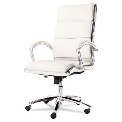Alera® Neratoli Series High-Back Swivel/Tilt Chair-White Soft Faux Leather {Chrome Frame}