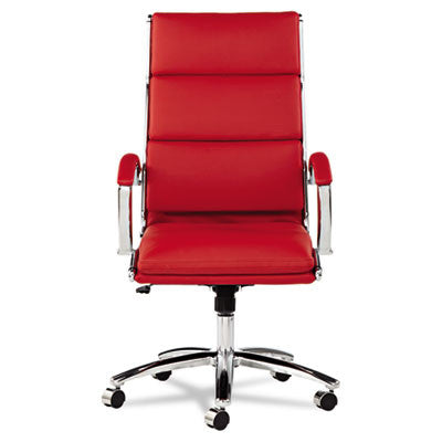 Alera® Neratoli Series High-Back Swivel/Tilt Chair, Red Soft Faux Leather, Chrome Frame