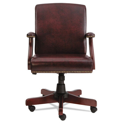 Alera® Traditional Series Mid-Back Chair- Mahogany Finish/Oxblood Vinyl