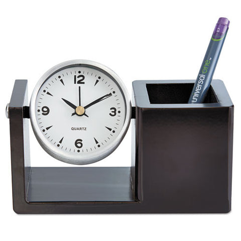 universalone® Executive Desk Clock- Brushed Nickel/Dark Cappuccino