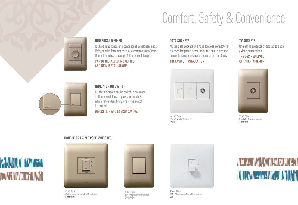 Legrand Ysalis Modern Design Electrical Wall Switches and Plug Sockets