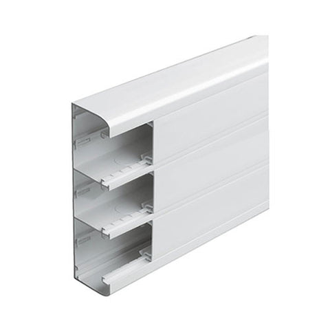 Snap-On Trunking - 3 Compartment, 2m With Cover - White