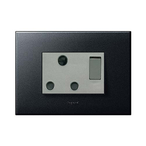 Arteor Single Switched Socket 2 x 4 - Graphite
