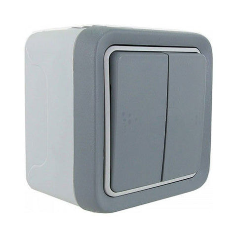 2 Lever Plexo Surface Mounted Switch - Grey