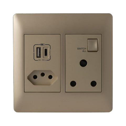 Ysalis USB Type-A & Type-C Combo Socket - Champagne