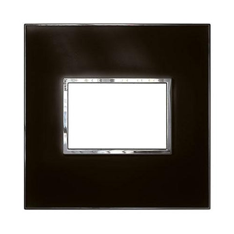 Arteor Cover Plate 3 Modules 4 x 4 - Mirror Black