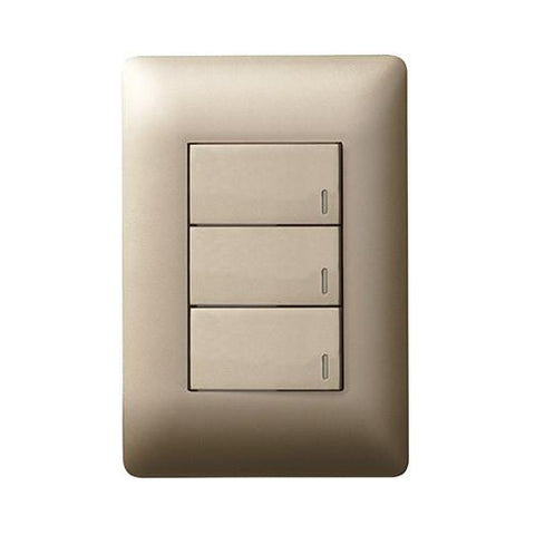 Ysalis 3 Lever Switch 1 x 2 Way - Champagne