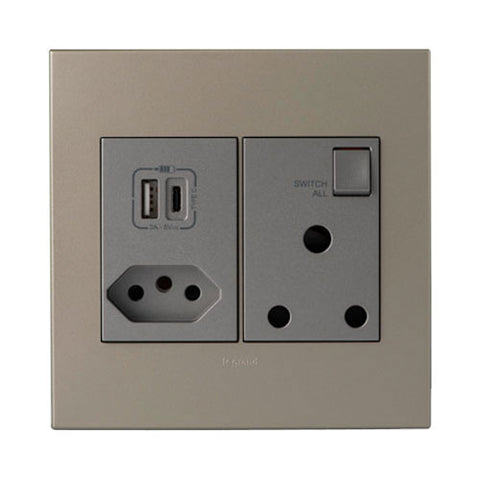 Arteor USB Type-A & Type-C Combo Socket - Champagne