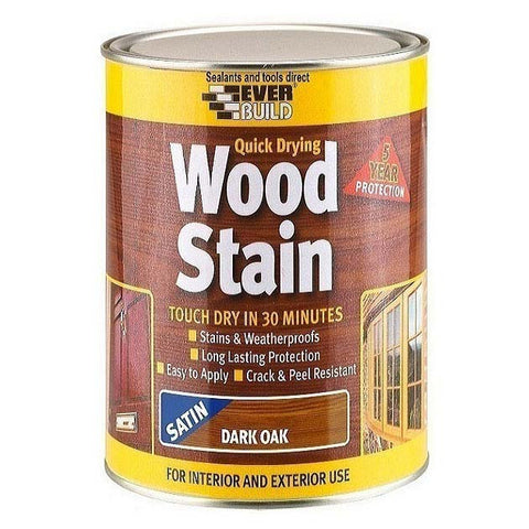 EverBuild Quick Drying Satin Wood Stain 750ml Tin