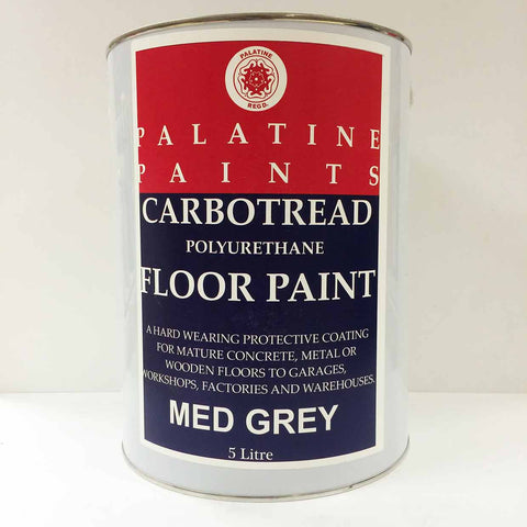 Palatine Paint Carbotread Polyurethane Floor Paint Med Grey 5 Litre