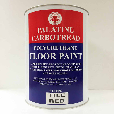 Palatine Paint Carbotread Polyurethane Floor Paint Tile Red 5 Litre