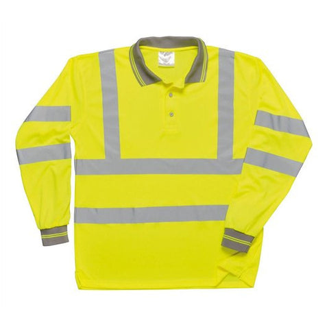 Portwest Hi-Vis Polo Shirt Long Sleeved Yellow S277