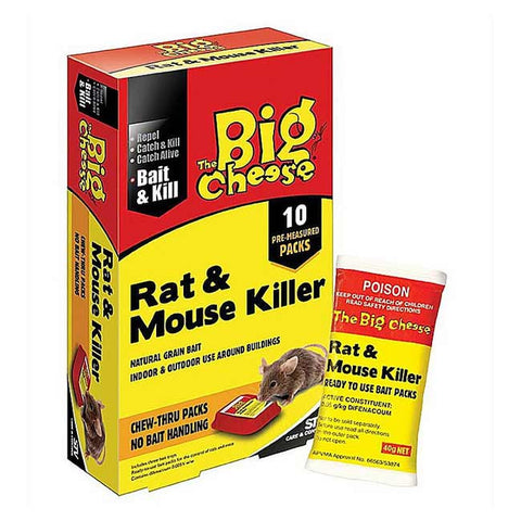 STV Big Cheese Rat Mouse Killer 10 x Chew Thru Packs STV145