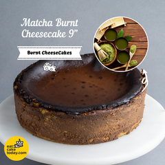 "Matcha Burnt Cheesecake 9"" - Cheesecakes - Ennoble - - Eat Cake Today - Birthday Cake Delivery - KL/PJ/Malaysia"