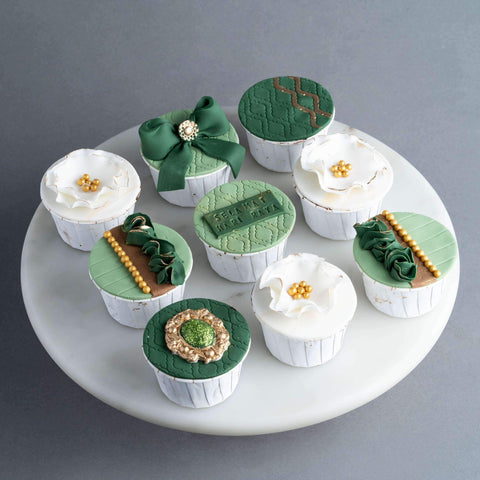 9 pieces of Emerald Raya Luxe Cupcakes - Cupcakes - Little Collins - - - - Eat Cake Today - Birthday Cake Delivery - KL/PJ/Malaysia