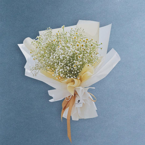 Baby Breath Mix Chamomile Bouquet - Flowers - Grand Floral Art Studio - - Eat Cake Today - Birthday Cake Delivery - KL/PJ/Malaysia