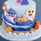 "Baby Shark Pinkfong Fondant Cake 6"" - Designer Cakes - Sweet Creations - - Eat Cake Today - Birthday Cake Delivery - KL/PJ/Malaysia"