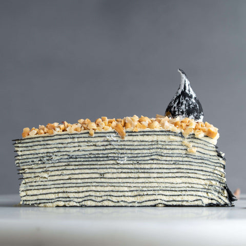 Bamboo Charcoal Peanut Butter Mille Crepe 9 inch - Mille Crepe - Food Foundry - - - - Eat Cake Today - Birthday Cake Delivery - KL/PJ/Malaysia