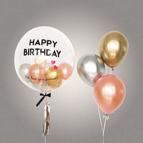 Basic Chrome Bubble Balloon Bouquet - Add On - Party Perfect - - Eat Cake Today - Birthday Cake Delivery - KL/PJ/Malaysia