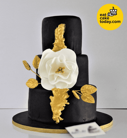 Black, White and Gold Wedding Cake (Customized) - Customized Cakes - Eat Cake Today - Cake Delivery from Malaysia's Best Bakers - - Eat Cake Today - Birthday Cake Delivery - KL/PJ/Malaysia
