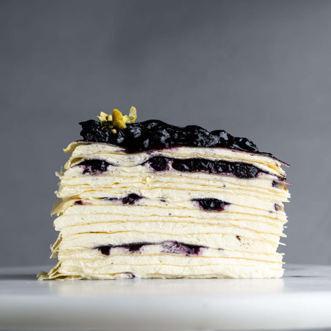 "Blueberry Mille Crepe Cake 9"" - Mille Crepe - Food Foundry - - - - Eat Cake Today - Birthday Cake Delivery - KL/PJ/Malaysia"