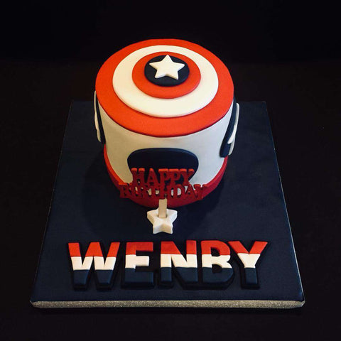 Captain America Cake 4.5 inch - Customized Cakes - B'Sweetbites - - Eat Cake Today - Birthday Cake Delivery - KL/PJ/Malaysia