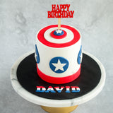 "Captain America Cake 5"" - Customized Cakes - Cakes by Maine - - Eat Cake Today - Birthday Cake Delivery - KL/PJ/Malaysia"