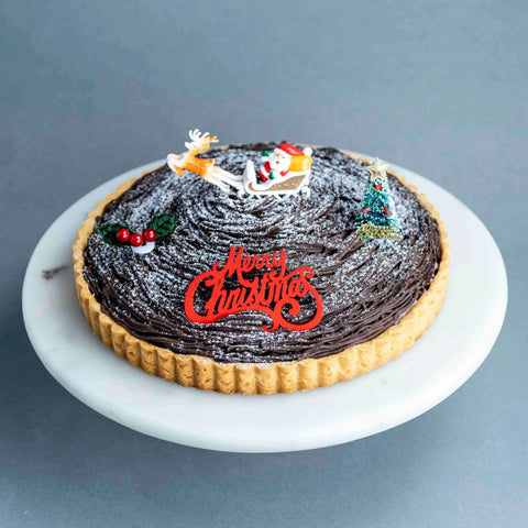 "Cherry & Chocolate Mont Blanc Tart 7"" - Tart - Project Cake Therapy - - Eat Cake Today - Birthday Cake Delivery - KL/PJ/Malaysia"