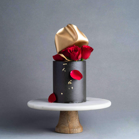 "Cold Black & Red Rose Cake 5"" - Designer Cake - D'sabroso - - - - Eat Cake Today - Birthday Cake Delivery - KL/PJ/Malaysia"