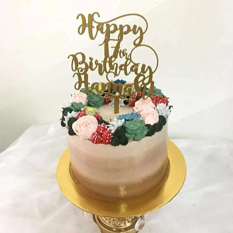 Customized Flowers & Succulents Cake 7 inch with cake topper - Customized Cakes - Kak Sal Kueh - - Eat Cake Today - Birthday Cake Delivery - KL/PJ/Malaysia