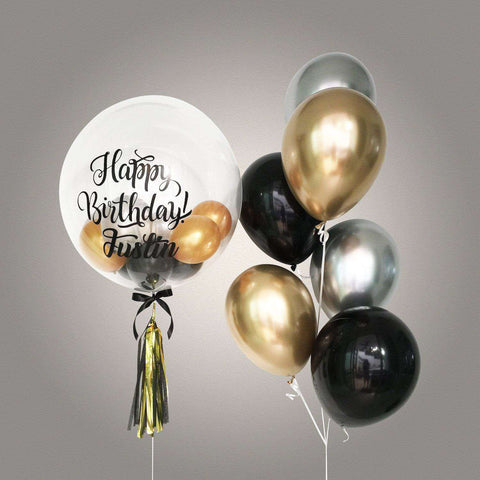 Deluxe Chrome Bubble Balloon Bouquet - Add On - Party Perfect - - Eat Cake Today - Birthday Cake Delivery - KL/PJ/Malaysia