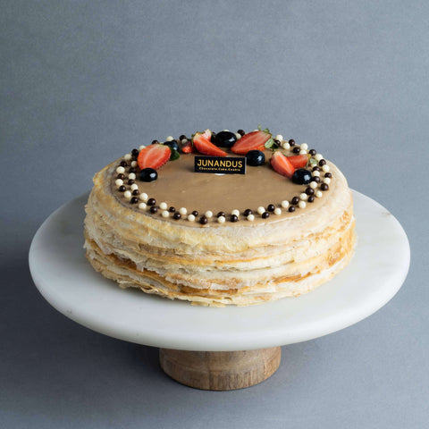 "Espresso Macchiato Mille Crepe 8"" - Mille Crepe - Junandus - - - - Eat Cake Today - Birthday Cake Delivery - KL/PJ/Malaysia"