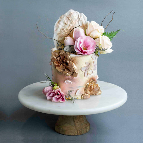 "Floral Geode Cake 4"" - Designer Cake - The Buttercake Factory - - Eat Cake Today - Birthday Cake Delivery - KL/PJ/Malaysia"