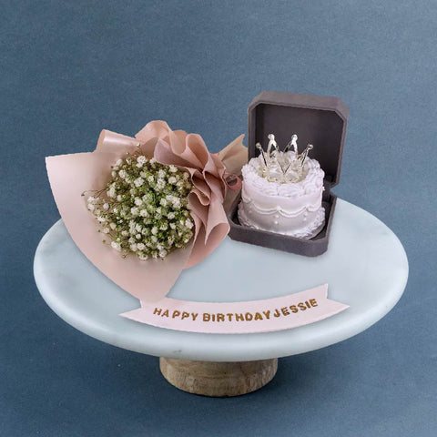 "Flower Bouquet & Ring Cake 3"" - Designer Cakes - Sweet Creations - - Eat Cake Today - Birthday Cake Delivery - KL/PJ/Malaysia"