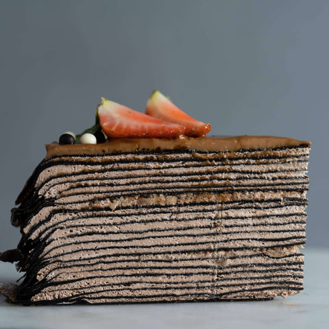 "Hazelnut Chocolate Mille Crepe 8"" - Mille Crepe - Junandus - - - - Eat Cake Today - Birthday Cake Delivery - KL/PJ/Malaysia"