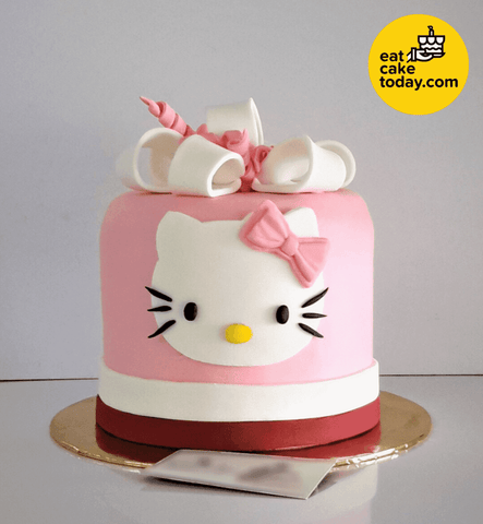 Hello Kitty Cake Customized With Present And Ribbon Eat Cake Today
