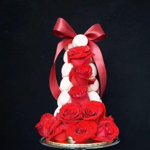 Macaron Tower with Roses - Macarons - Deux Cake - - - - Eat Cake Today - Birthday Cake Delivery - KL/PJ/Malaysia