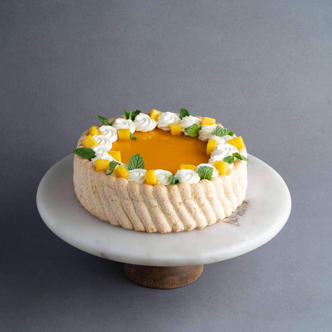 "Mango Charlotte Cake 8"" - Fruits Cake - Baker's Art - - - - Eat Cake Today - Birthday Cake Delivery - KL/PJ/Malaysia"