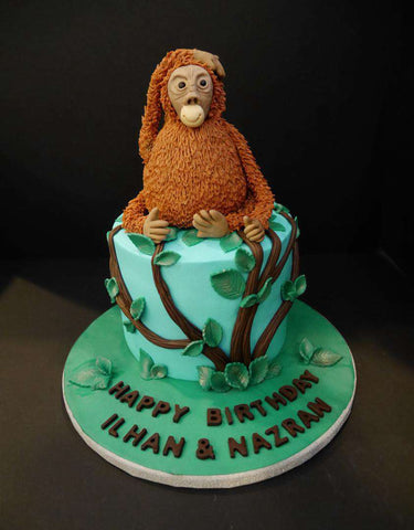 Orang Utan Cake 6 inch - Customized Cakes - B'Sweetbites - - Eat Cake Today - Birthday Cake Delivery - KL/PJ/Malaysia