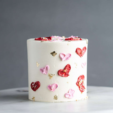 "Red & Pink Hearts Cake 4"" - Designer Cake - Souka - - Eat Cake Today - Birthday Cake Delivery - KL/PJ/Malaysia"