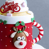 "Rudolph In A Mug Cake 5"" - Designer Cake - B'Sweetbites - - Eat Cake Today - Birthday Cake Delivery - KL/PJ/Malaysia"