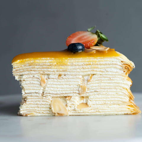 "Salted Caramel Almond Mille Crepe 8"" - Mille Crepe - Junandus - - - - Eat Cake Today - Birthday Cake Delivery - KL/PJ/Malaysia"