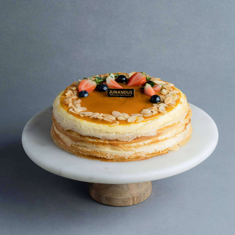 "Salted Caramel Almond Mille Crepe 8"" - Mille Crepe - Junandus - - Eat Cake Today - Birthday Cake Delivery - KL/PJ/Malaysia"