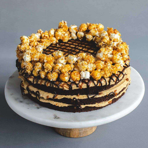 "Salted Caramel Popcorn Cake 9"" - Salted Caramel Chocolate Cake - Ennoble - - - - Eat Cake Today - Birthday Cake Delivery - KL/PJ/Malaysia"