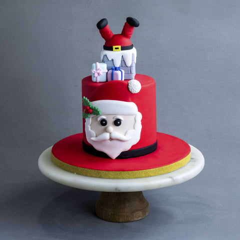 "Santa Down The Chimney Cake 5"" - Designer Cake - B'Sweetbites - - Eat Cake Today - Birthday Cake Delivery - KL/PJ/Malaysia"