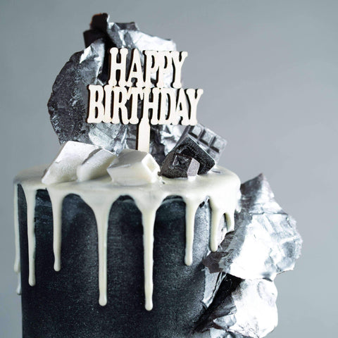 "Silver Monochrome Cake 4"" - Designer Cake - The Buttercake Factory - - Eat Cake Today - Birthday Cake Delivery - KL/PJ/Malaysia"